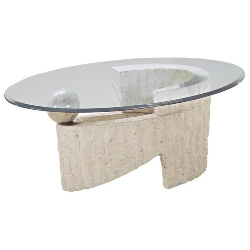 Magnussen home ponte vedra contemporary oval glass for Contemporary glass cocktail tables