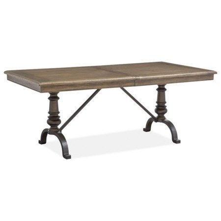 """Traditional Dining Table with 20"""" Removable Leaf and Metal Base"""