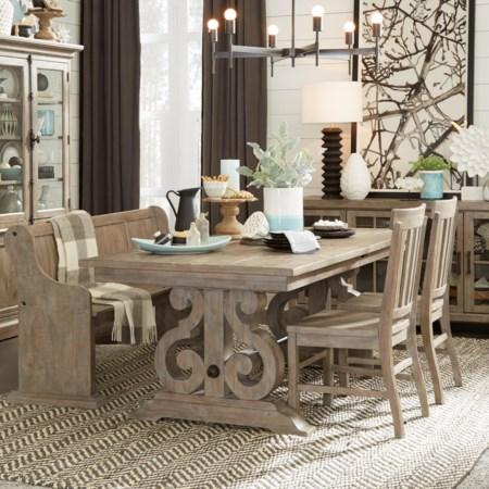 Relaxed Vintage Six Piece Table & Chair Set with Bench