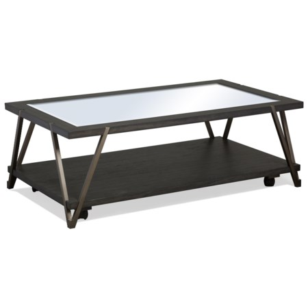 Industrial Rectangular Glass Top Cocktail Table with Casters