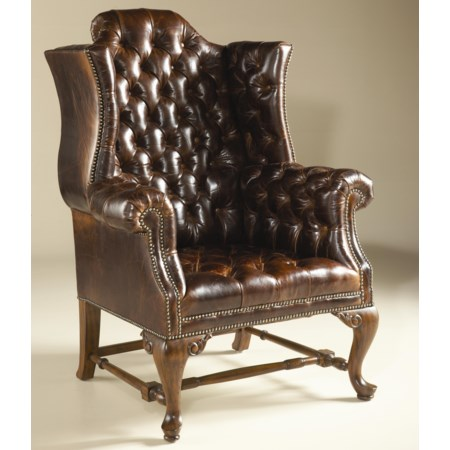 Napoleon Brown Finished Occasional Wing Chair w/ Tufted Dragon Croc Leather Upholstery
