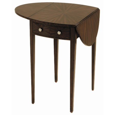 Faux Ebony Finished Zebrano Occasional Table with Drop Leaves and Tapered Leg