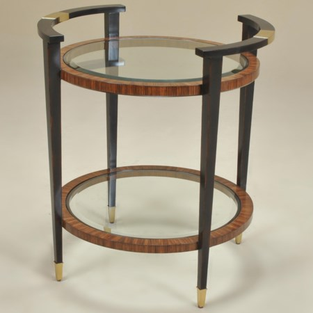 Two Tiered Antique Aubergine Finished Occasional Table with Zebrano Accents & Inset Glass