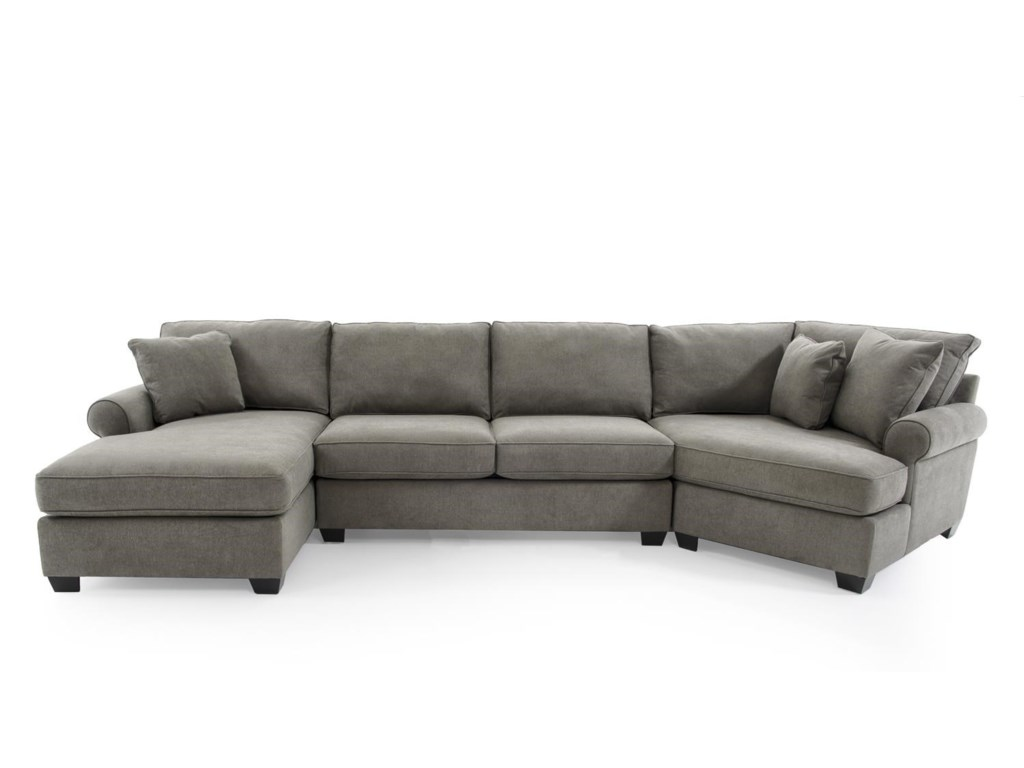 Sectional sofa with cuddler england brantley 5 seat for Sectional sofa with chaise and cuddler