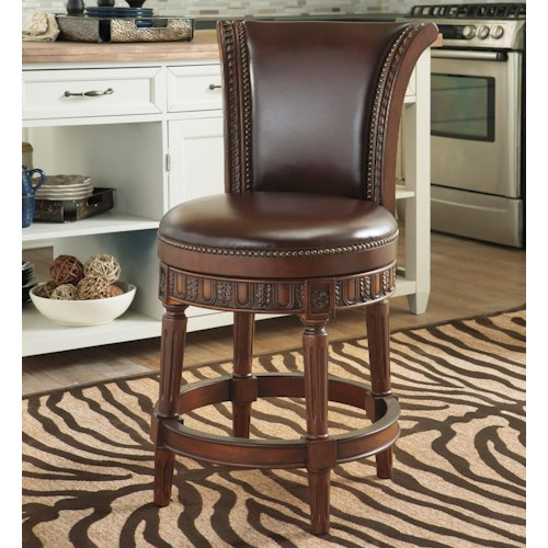 Millennium North Shore Faux Leather Upholstered Swivel Barstool With Sleigh Back Value City