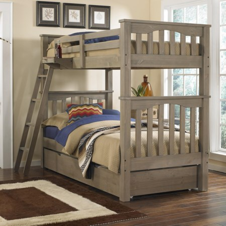 Mission Style Twin Over Twin Harper Bunk Bed with Hanging Tray and Under Bed Trundle