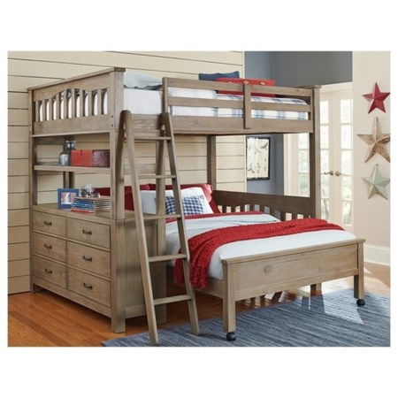 Mission Style Twin Bed with Lower Bed