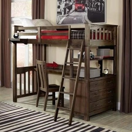Mission Style Twin Loft Bed with Desk