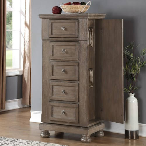 New Classic Allegra 5 Drawer Lingerie Swivel Chest Boulevard Home Furnishings Chest
