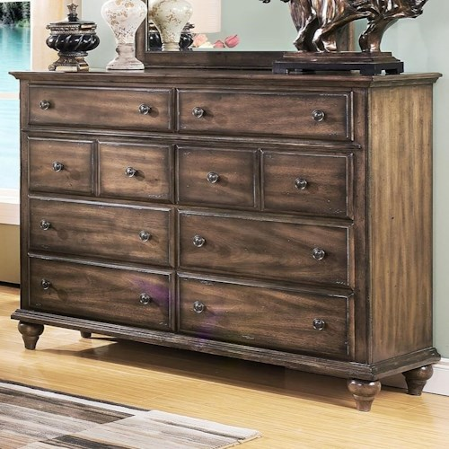 New Classic Fallbrook Eight Drawer Dresser With Moulded Top Wilson 39 S Furniture Dressers