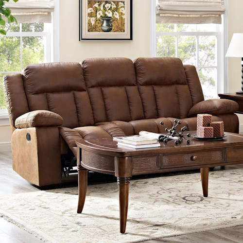 New Classic Hayes Casual Dual Reclining Sofa With Heavy Padded Headrest Boulevard Home