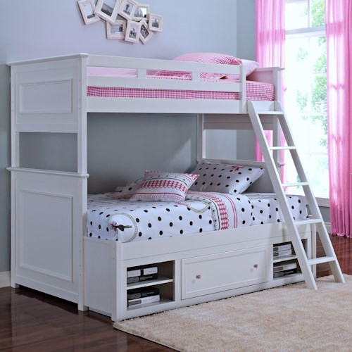 New Classic Megan Casual Twin Full Bunkbed With Storage Boulevard Home Furnishings Bunk Bed