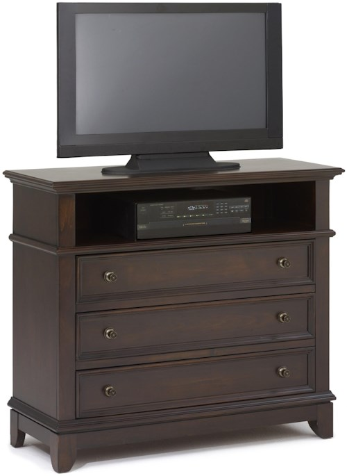 New Classic Prescott Three Drawer Media Chest With Open Compartment Boulevard Home Furnishings