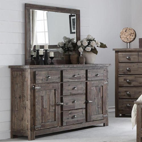 New Classic Tuscany Park Dresser And Mirror Set With Panel Doors Wilson 39 S Furniture Dresser
