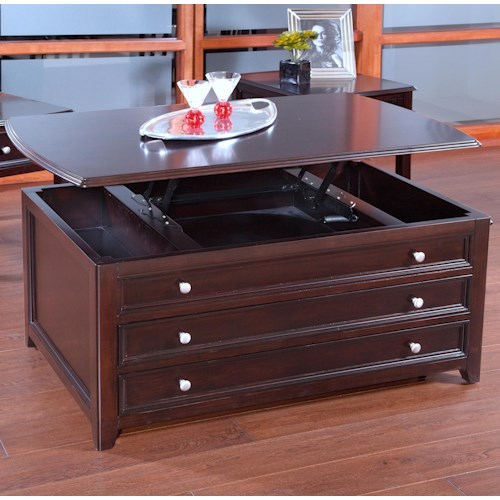 New Classic Ventura Lift Top Cocktail Table With Side Storage Drawers Boulevard Home