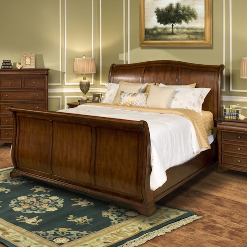 New Classic Whitley Court Queen Sleigh Panel Bed Boulevard Home Furnishings Sleigh Bed