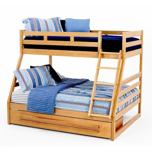 New Classic Casual Oak Youth Twin Full Oak Bunk Bed Boulevard Home Furnishings Bunk Bed