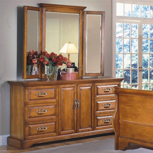 New Classic Honey Creek 6 Drawer Dresser Wing Mirror Set Rife 39 S Home Furniture Dresser