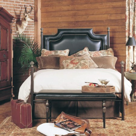 Paloma Metal Bed with Upholstered Accent