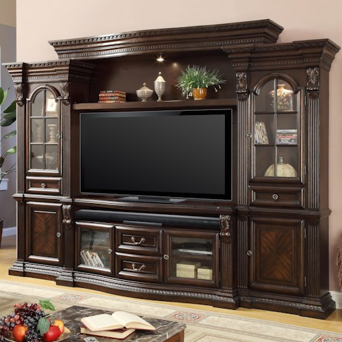 Parker House Bella Collection Entertainment Center With 6 Doors And Power Center Wayside