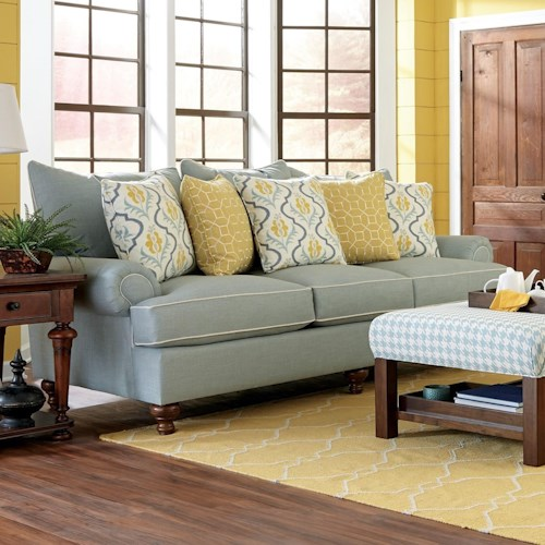 Paula Deen By Craftmaster P711700 Traditional Stationary Sofa With Turned Wood Feet Sprintz