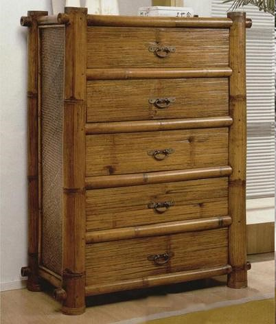 Pelican Reef Maui Bamboo 5 Drawer Dresser Furniture Barn Drawer Chests Pennsville Bear