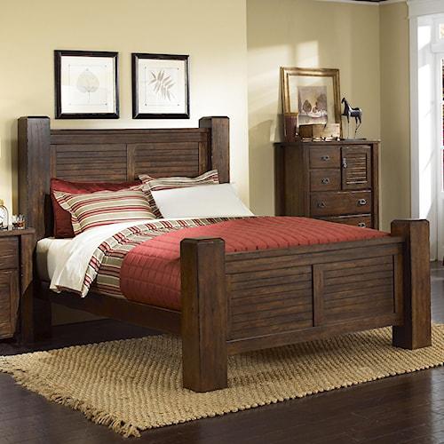 Progressive Furniture Trestlewood Queen Post Bed Boulevard Home Furnishings Panel Beds
