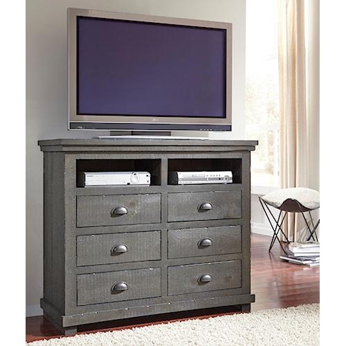 Progressive furniture willow distressed pine media chest for Furniture 500 companies