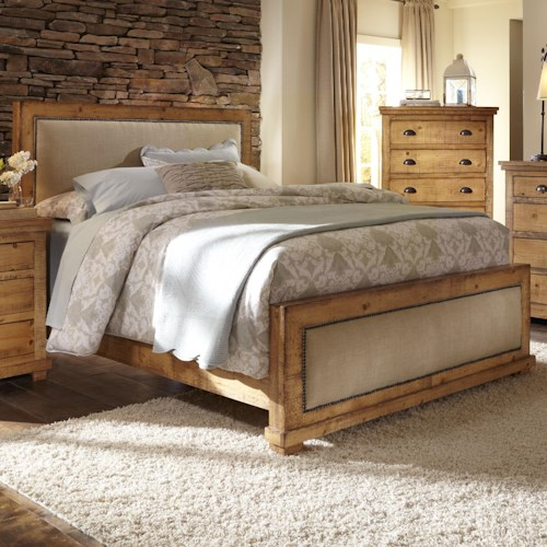 Progressive Furniture Willow Queen Upholstered Bed With Distressed Pine Frame Wayside