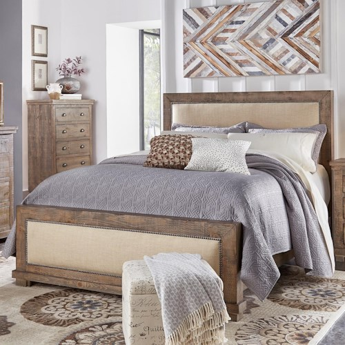 Progressive Furniture Willow Queen Upholstered Bed With Distressed Pine Frame Boulevard Home