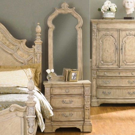 Three Drawer Nightstand and Mirror Combo