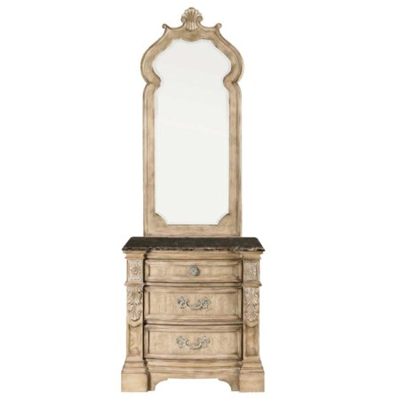Stone Top Three Drawer Nightstand & Mirror Combo