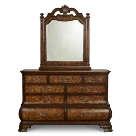 Nine Dovetailed Drawer Dresser with Bomay Shaped Bottom Drawers and Bracket Feet & Open Carved Crown Beveled Glass Wood Framed Landscape Dresser Mirror Combo