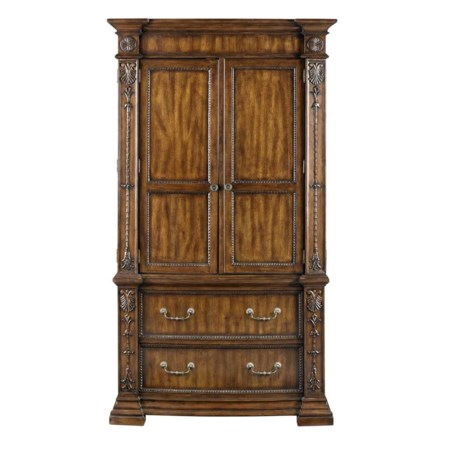 Block Foot Bedroom Armoire with Ornate Carvings