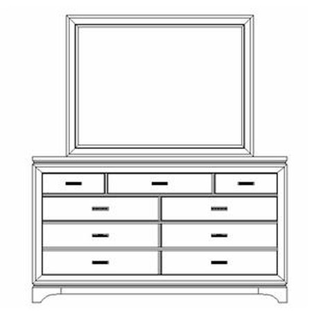 Sixth Sense Nine Drawer Dresser with Square Mirror