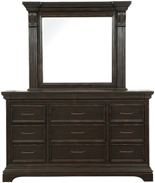 Pulaski furniture caldwell dresser and mirror combo for Furniture 0 percent financing