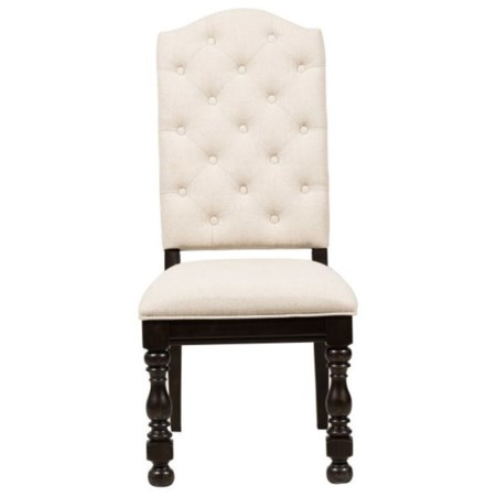Traditional Upholstered Side Chair with Turned Legs