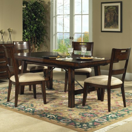 5 Piece Rectangular Leg Table Set with 4 Side Chairs