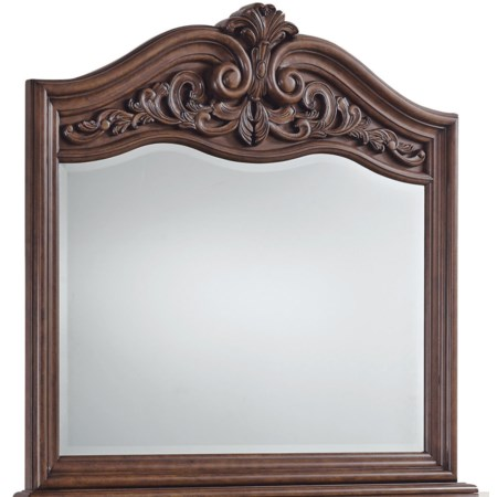 Dresser Mirror with Serpentine and Scrolled Top