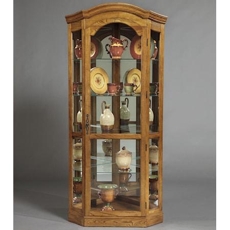 Pepper Oak Corner Curio Cabinet