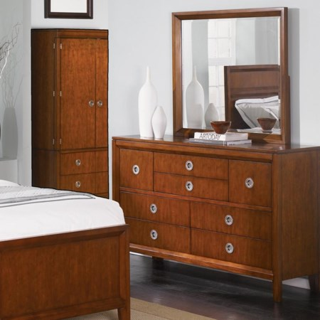 8 Drawer Dresser with Vertical Mirror
