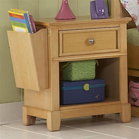 Nightstand With Drawer, Shelf, and Storage Bin
