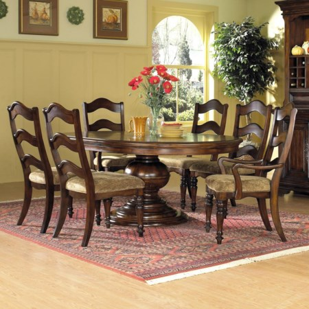 7 Pc. Round Pedestal Table with 2 Upholstered Arm Chair & 4 Upholstered Side Chair Set