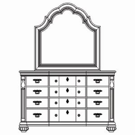 Traditional 12 Drawer Dresser with Scalloped Crown Mirror