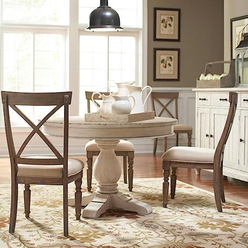 Riverside furniture aberdeen 4 piece round pedestal dining for 4 piece kitchen table set