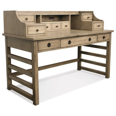 Leg Desk With Hutch and 8 Total Drawers