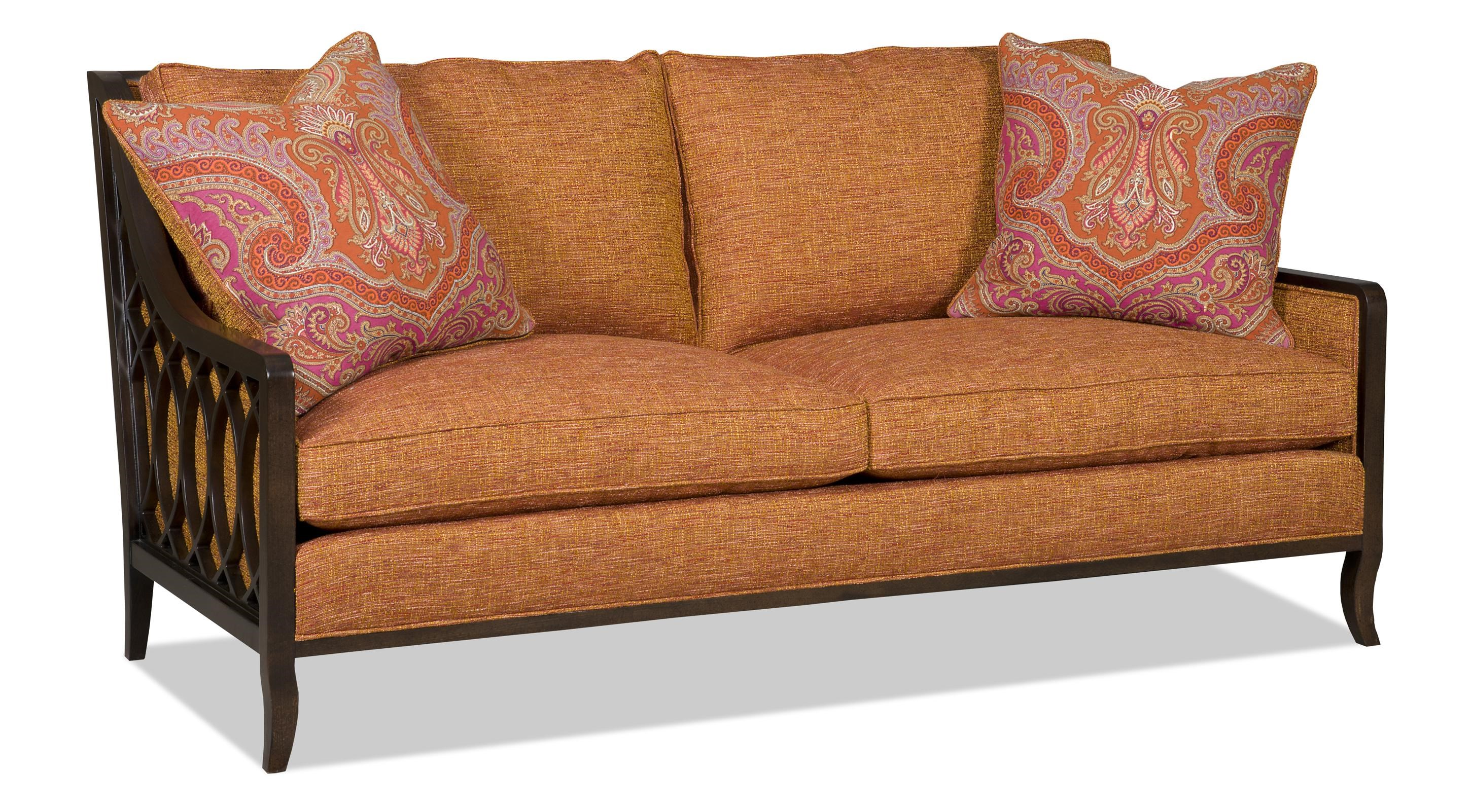 Sam Moore Myla Two Over Two Sofa with Exposed Wood Lattice