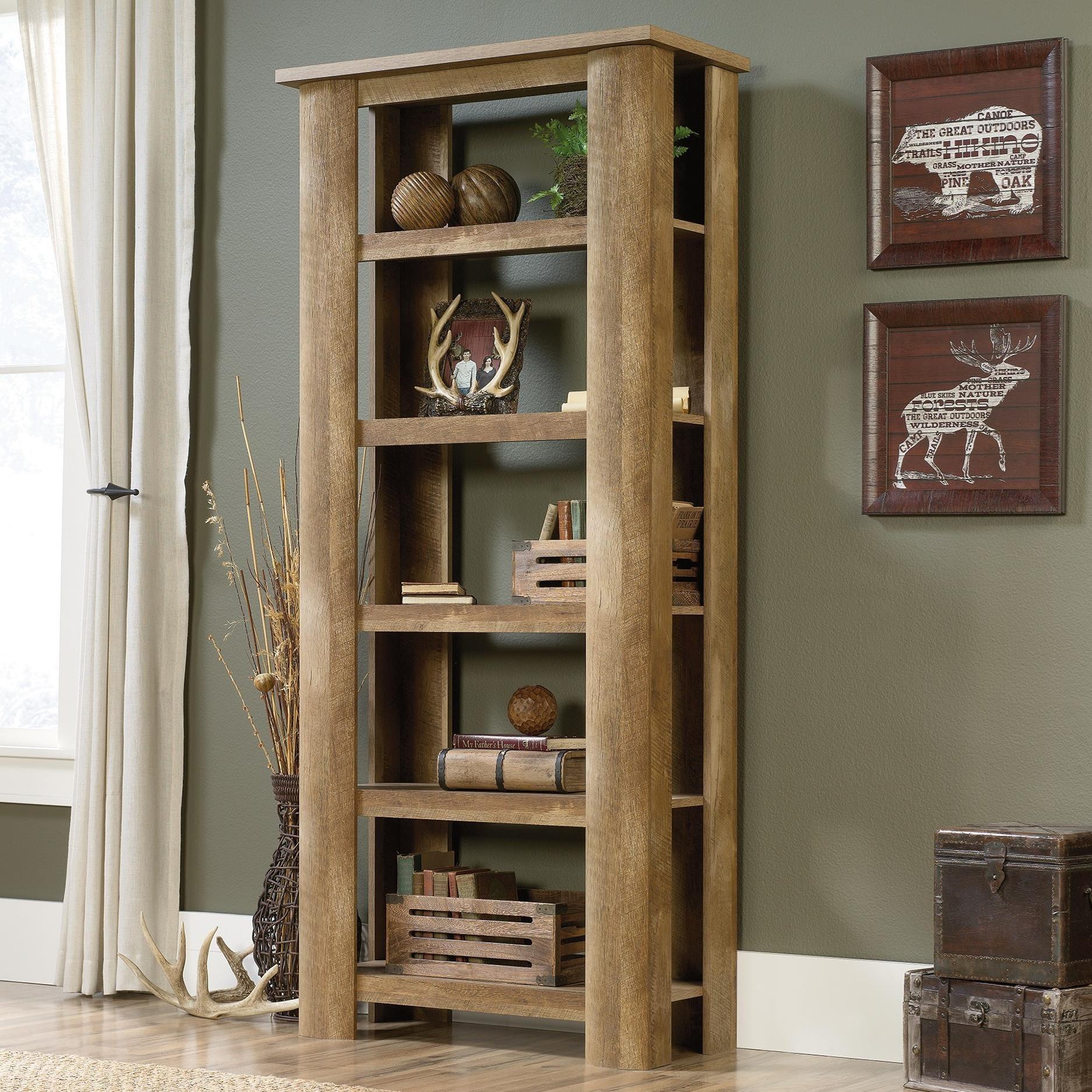 Sauder Boone Mountain Rustic Style 5 Shelf Bookcase