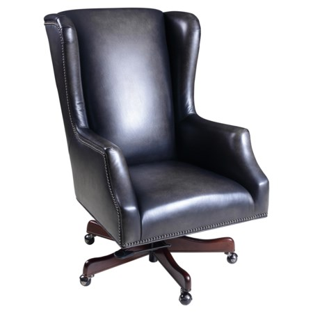 Transitional Wing-Back Executive Chair with Swivel and Tilt