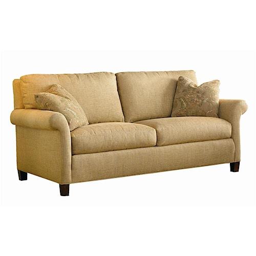 Sherrill transitional sleep sofa with wood accent legs for Transitional sectional sofa sleeper
